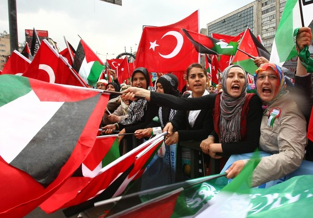 Pro-Palestinian demonstrators wave Turki